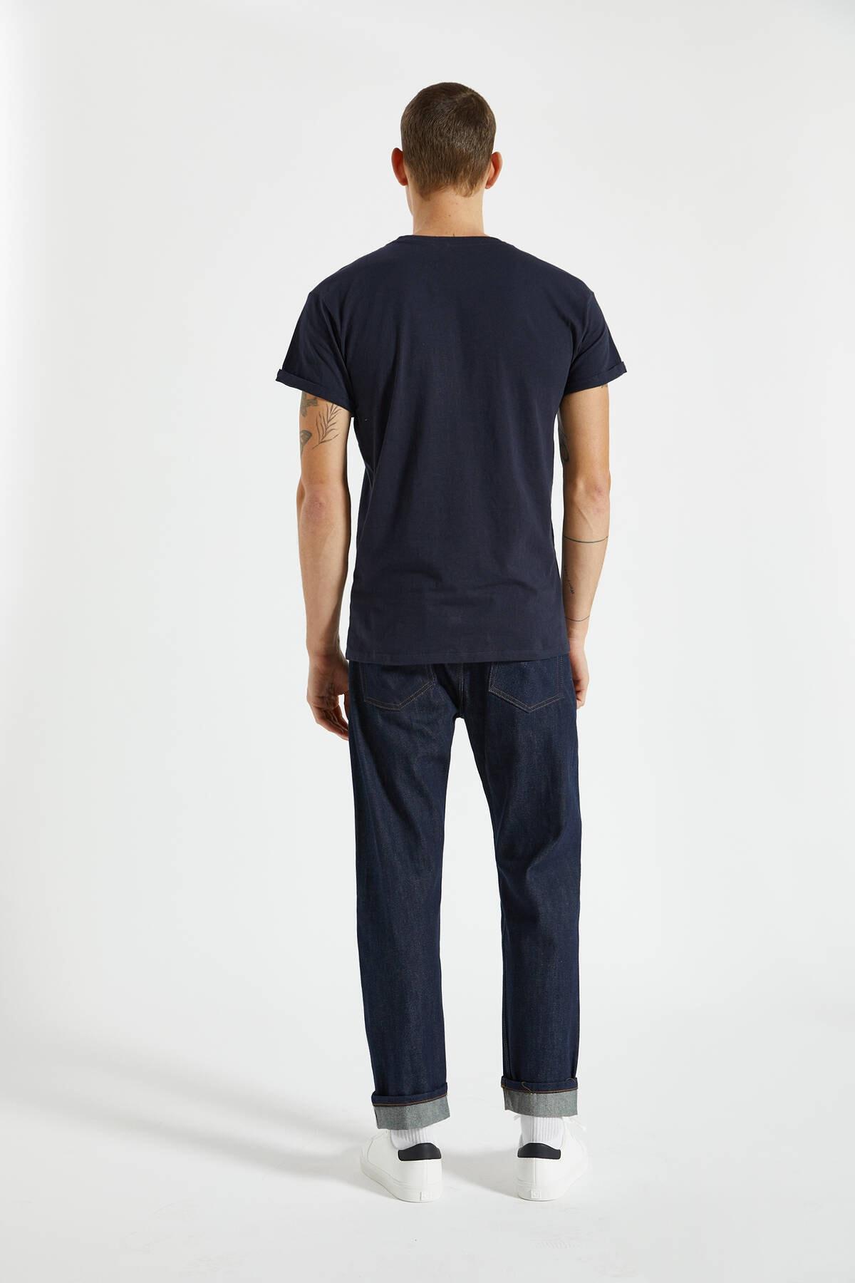 Pull & Bear Erkek Lacivert Logolu Basic Muscle Fit T-Shirt 09244941 2