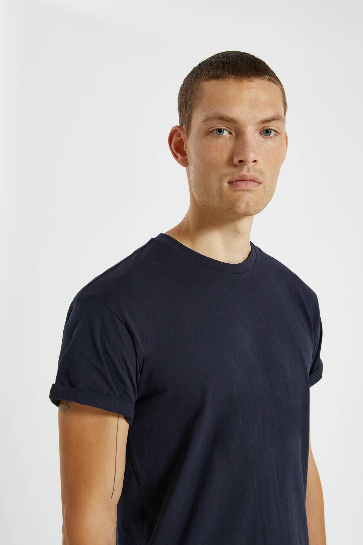 Pull & Bear Erkek Lacivert Logolu Basic Muscle Fit T-Shirt 09244941 3