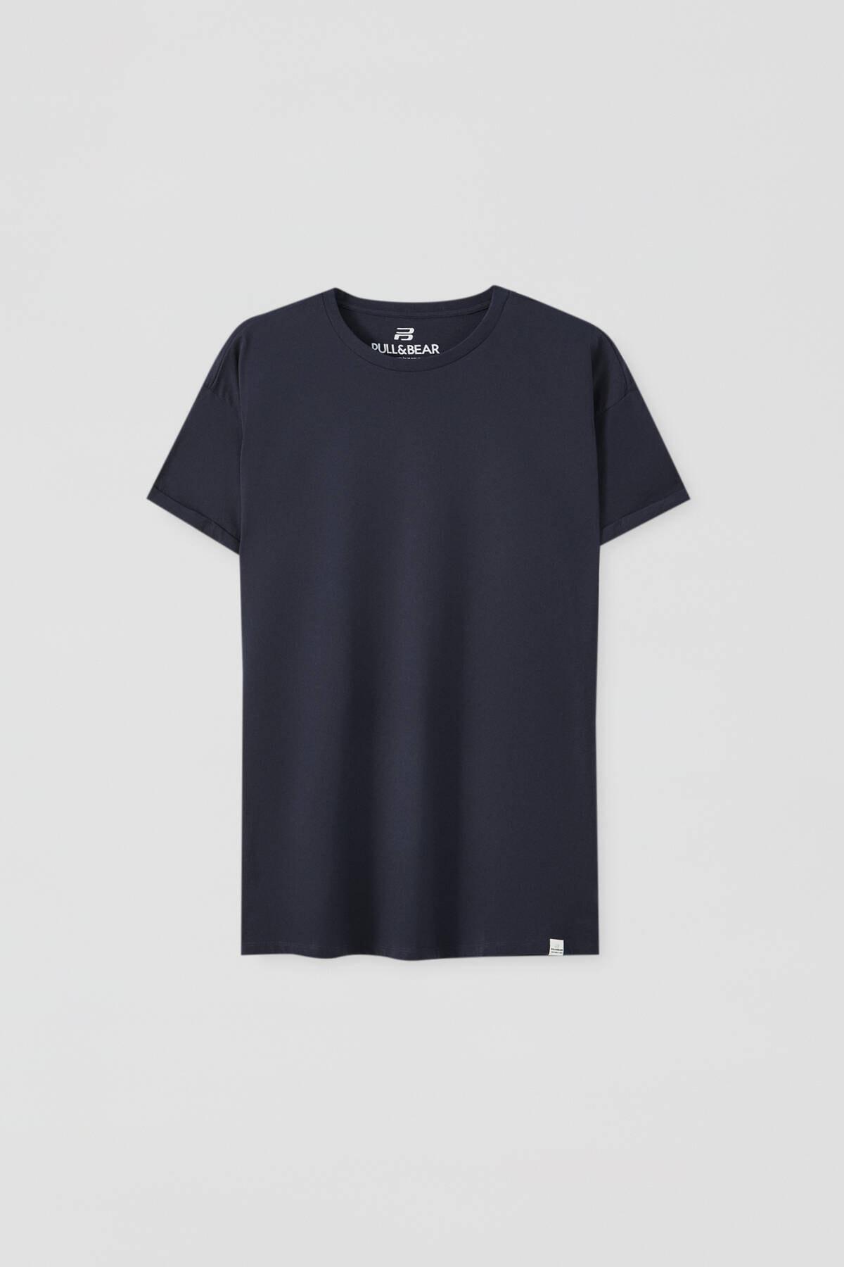 Pull & Bear Erkek Lacivert Logolu Basic Muscle Fit T-Shirt 09244941 4