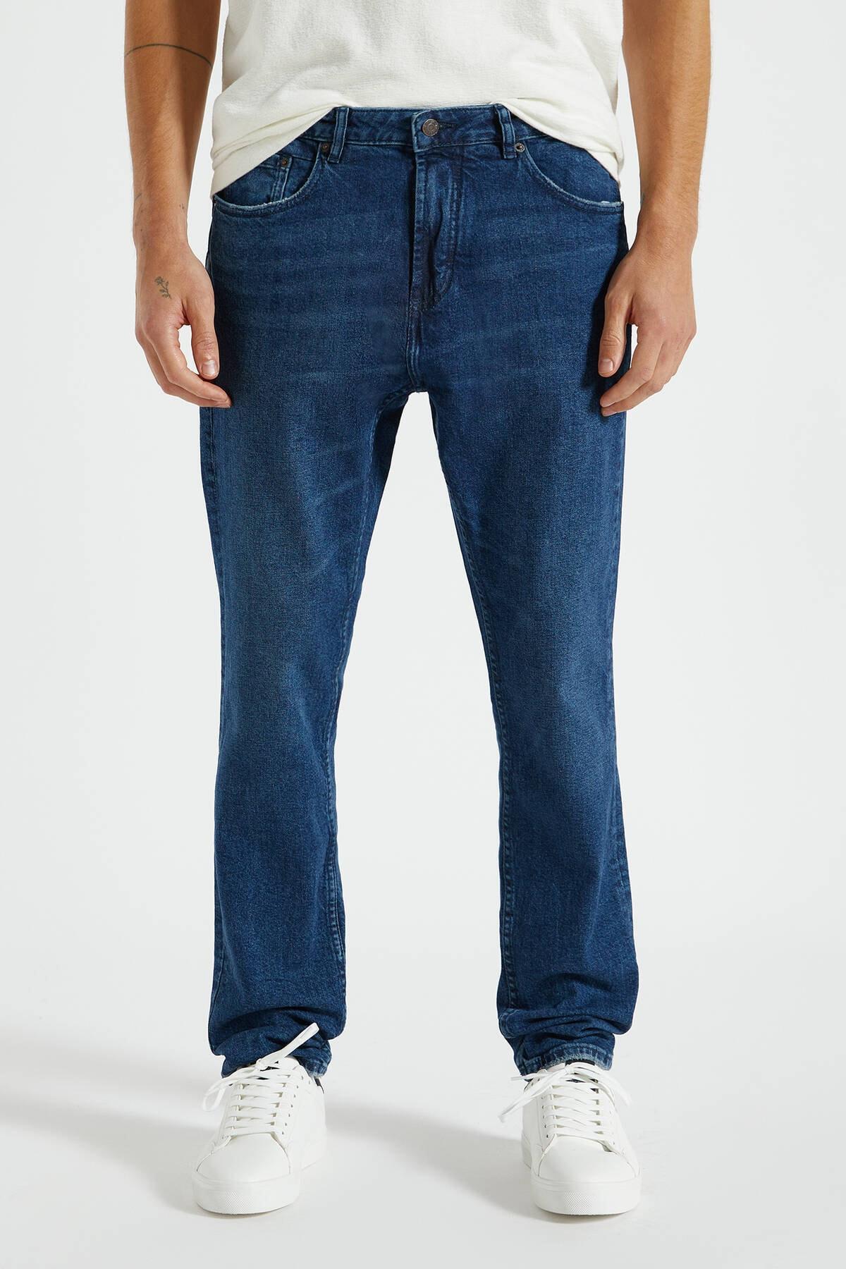 Pull & Bear Erkek Koyu Mavi Comfort Slim Fit Jean 09683530 2