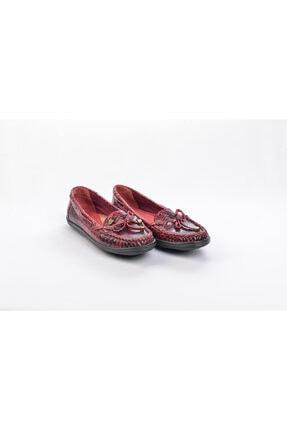 Venüs 15610 Hakiki Deri Yılan Baskılı Bordo Kadın Günlük Krem Kadın Babet Ayakkabı 0