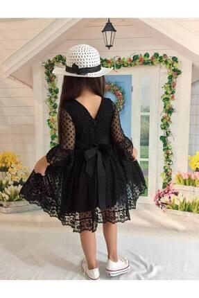 Buse&Eylül Bebe Siyah Şapkalı Tüllü Güpür Detaylı Kız Çocuk Elbisesi 1