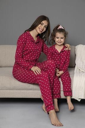 bordo Pamuklu Likrali Biyeli Düğmeli Pijama Takım resmi