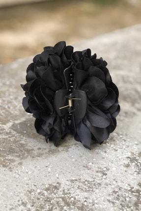 İnci Accessories Çiçek Model Saten Kumaş Büyük Mandal Toka Siyah 3