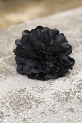 İnci Accessories Çiçek Model Saten Kumaş Büyük Mandal Toka Siyah 4