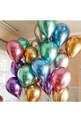 araget Krom Parlak Balon 16 Inç Gümüş Renk 40 Cm. Mirror Ayna Balon 5 Ad 2