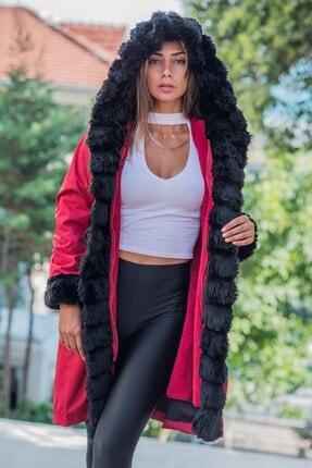 Keyifli Moda Kadın Bordo Su Geçirmez Içi Kürklü Kapüşonlu Siyah Kürk Yaka Kaban 0