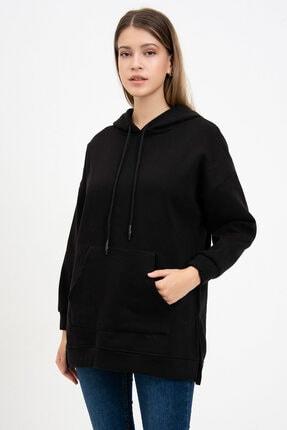 Mossta Kadın Siyah Kanguru Cepli Kapüşonlu Sweatshirt 1
