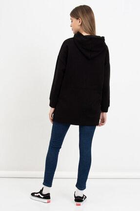 Mossta Kadın Siyah Kanguru Cepli Kapüşonlu Sweatshirt 3