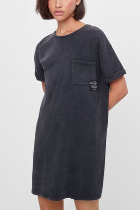 PULLMARK Kadın Antrasit Asit Yıkamalı Kısa Elbise 0