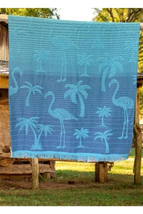 Riva Unisex Turkuaz Peştamal Flamingo Desen Plaj Havlusu 412389 1