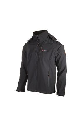 Erkek Siyah Outdoor Kapüşonlu Softshell Ceket 1006