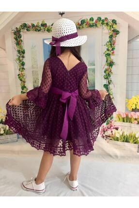 Buse&Eylül Bebe Mor Şapkalı Tüllü Güpür Detaylı Kız Çocuk Elbisesi 3