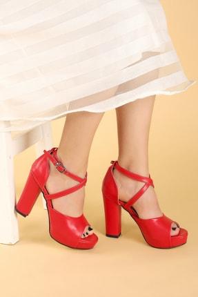 Ayakland Kadın Kırmızı Cilt Platform Topuklu  Abiye Ayakkabı 11 cm 3210-2058 1