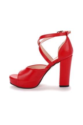 Ayakland Kadın Kırmızı Cilt Platform Topuklu  Abiye Ayakkabı 11 cm 3210-2058 4