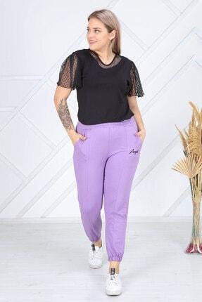 Heves Giyim Kadın Büyük Beden Lila Rengi Eşofman Altı 1