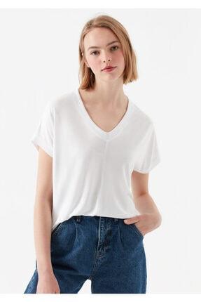 Mavi V Yaka Beyaz Basic Tişört 1