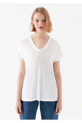 Mavi V Yaka Beyaz Basic Tişört 2