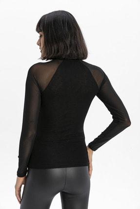 modavingo Kadın Siyah Yarım Balıkçı Tül Garnili Bluz 3