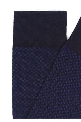 Mavi Desenli Lacivert Uzun Çorap 1