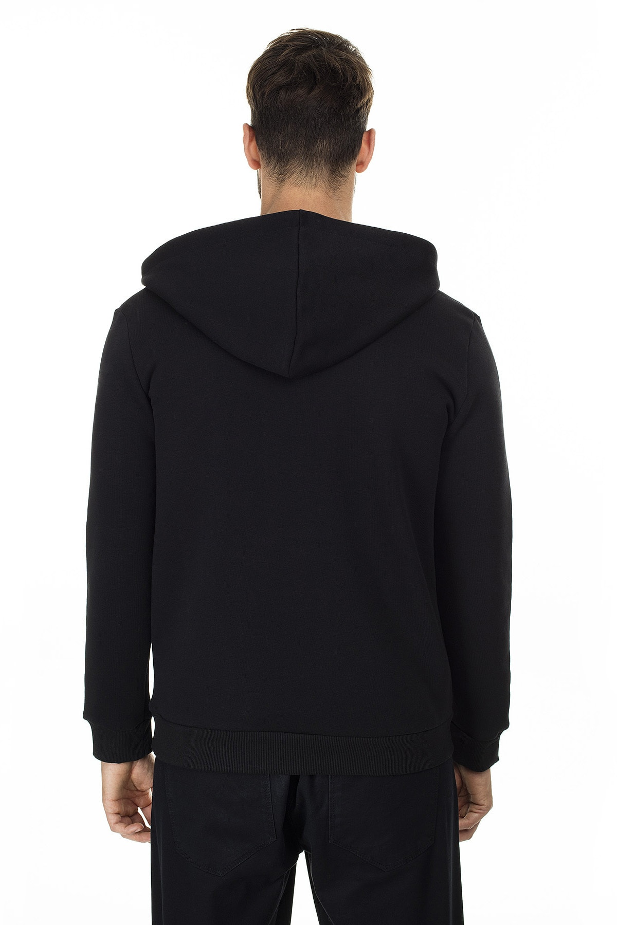 Buratti Erkek SİYAH-KIRMIZI Kanguru Cepli Fermuarlı Kapüşon Yaka Slim Fit Sweatshirt 575707 2