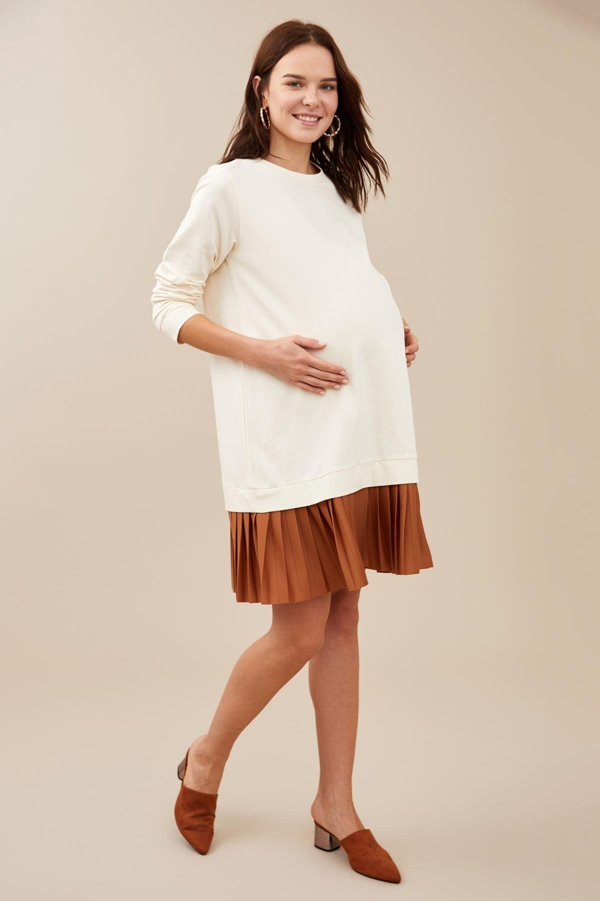Defacto Kadın Ecru Hamile Pilise Detaylı Pamuklu Sweat Elbise S2388AZ20AU 1
