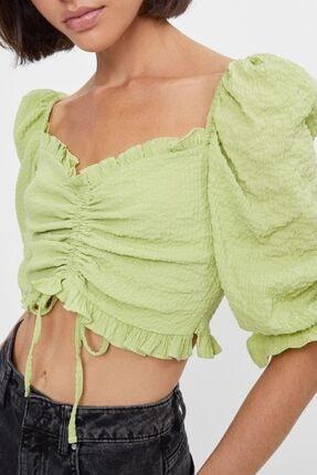 Bershka Kadın Lime Büzgülü Ve Karpuz Kollu Bluz 2