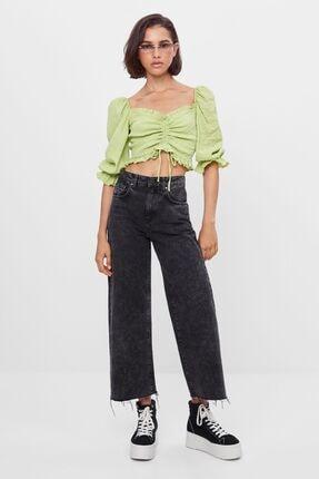 Bershka Kadın Lime Büzgülü Ve Karpuz Kollu Bluz 3