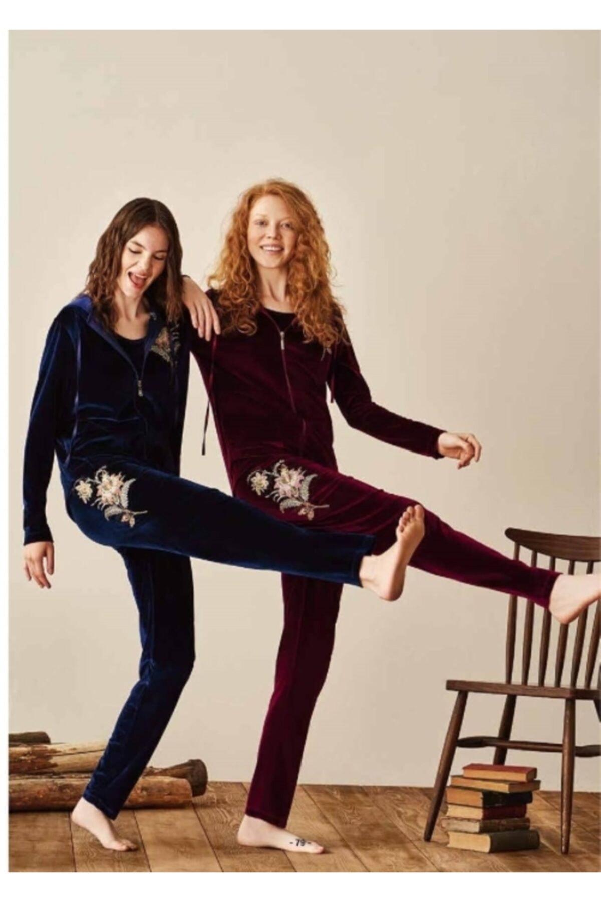 Feyza 3940 Bayan Üçlü Pijama Takım Lacivert