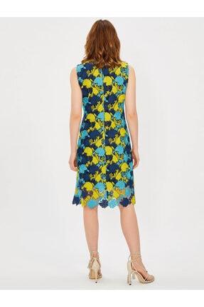 Vekem Kadın Lacivert Kolsuz Yuvarlak Yaka Dantel Elbise 1