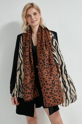 Y-London Kadın Kahverengi Leopar Zebra Desenli Şal 13130 0