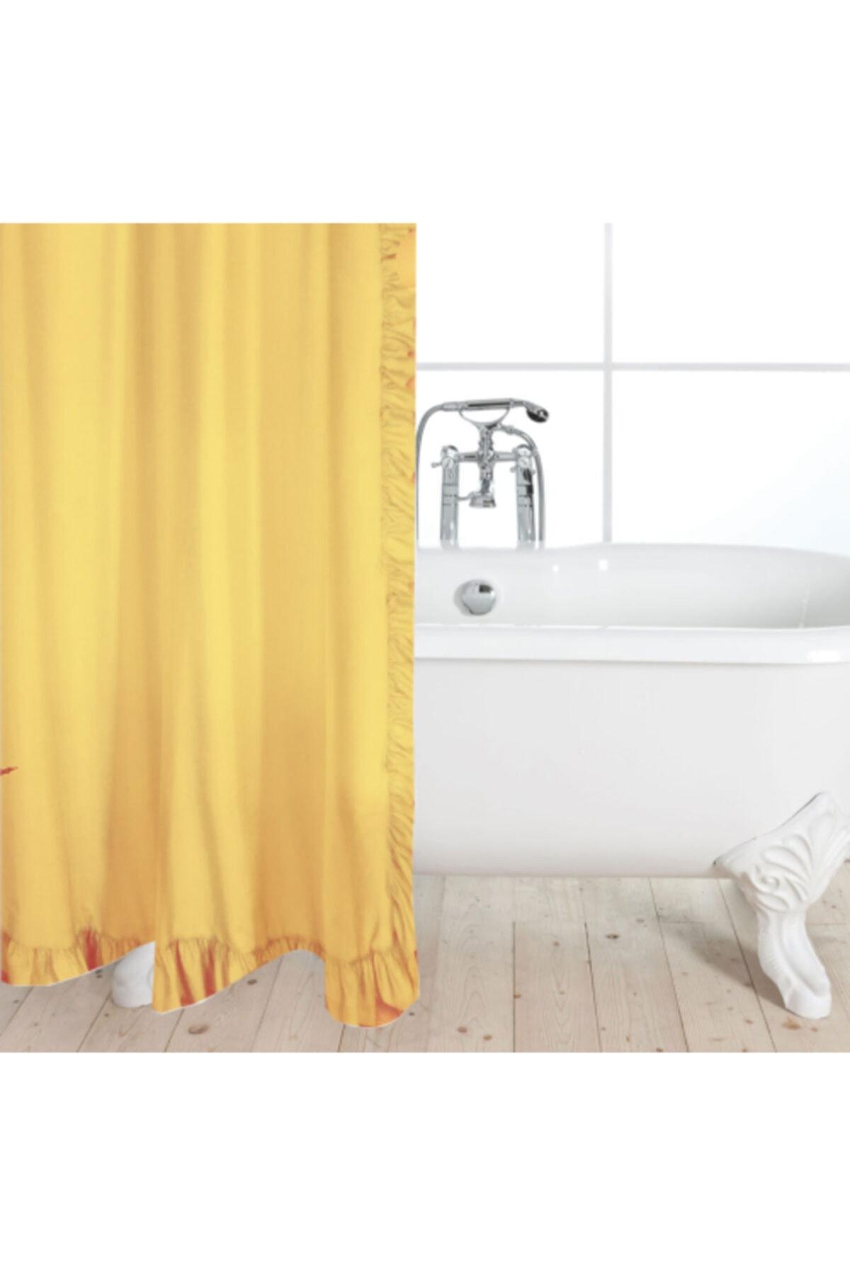 Fırfırlı 180 X 180 Sarı Tek Kanat Banyo Perdesi