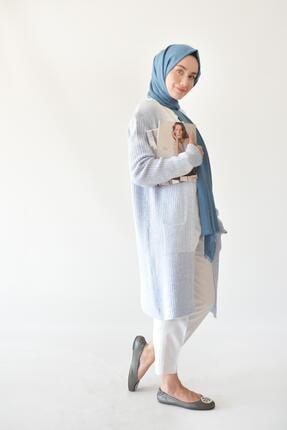 Rukayyel Kadın Mavi Cepli Yumoş Hırka 0