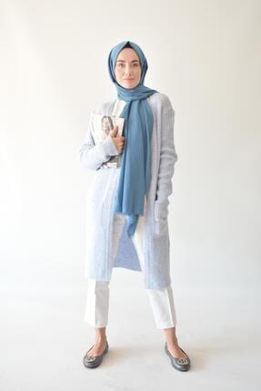 Rukayyel Kadın Mavi Cepli Yumoş Hırka 1