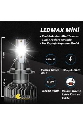 LEDMAX H11 Mini/slim Şimşek Led Xenon Far Ampul 8000 Lümen 6500 K Beyaz Renk, Fan Soğutuculu 3