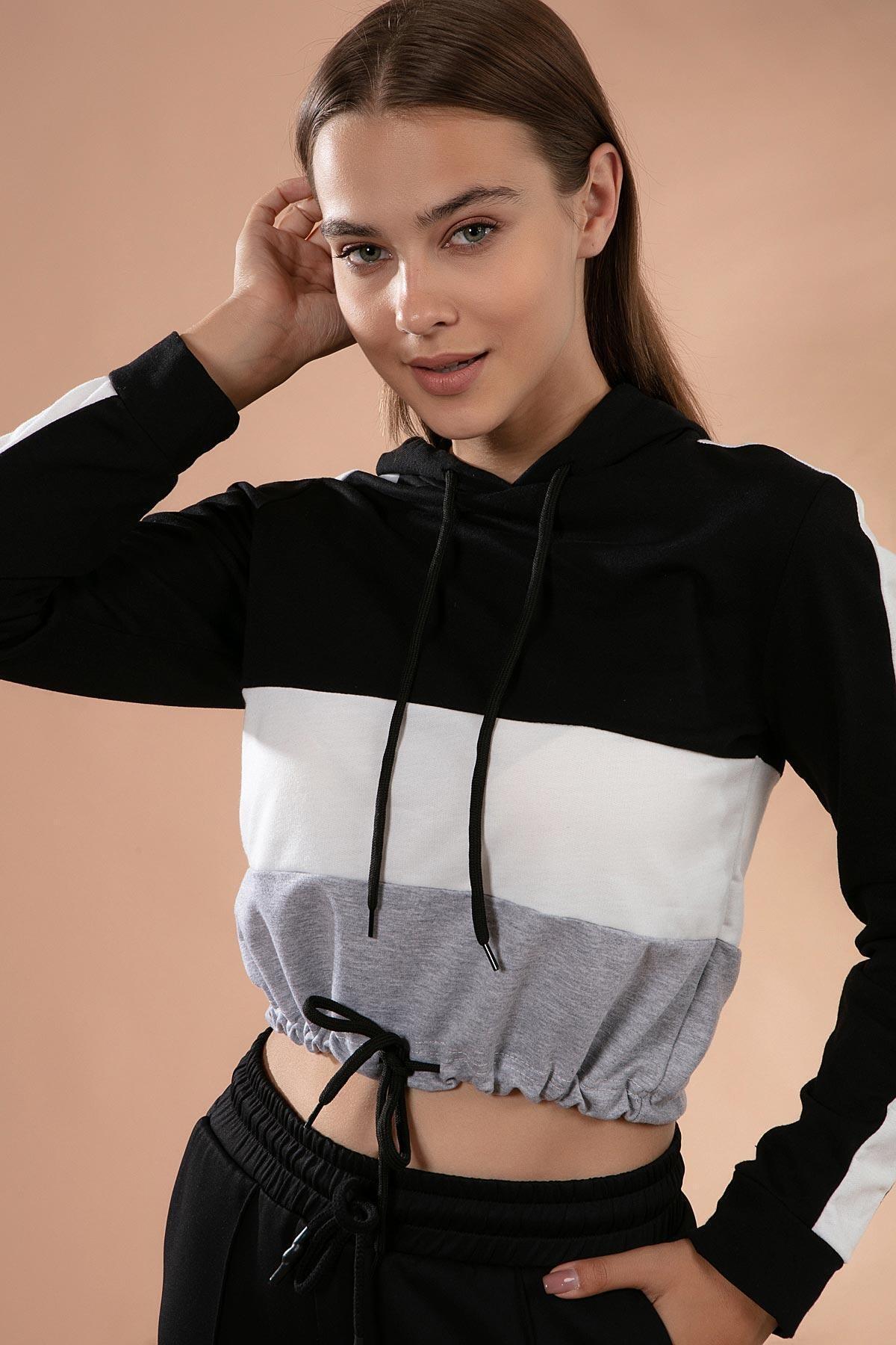 Y-London Kadın Siyah Beyaz Renk Bloklu Beli Bağcıklı Kapşonlu Sweatshirt Y20W126-10703 0