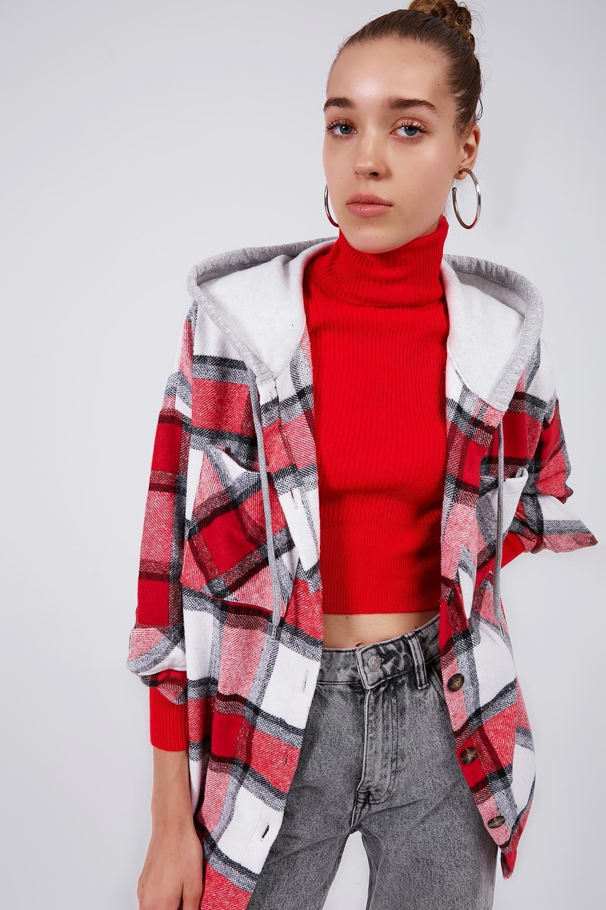 Y-London Kadın KIRMIZI Ekoseli Kapşonlu Oduncu Gömlek Y20W166-3996 1