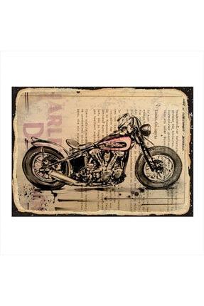 Tablomega Ahşap Tablo Harley Davidson Motosiklet 35cm X 50cm 0