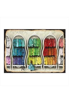 Ahşap Tablo Renkli Elbiseler 35cm X 50cm yatık-9594-35-50