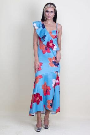 Şans Kadın Mavi Tek Omuz Askılı Yırtmaçlı Çiçek Desenli Elbise 2