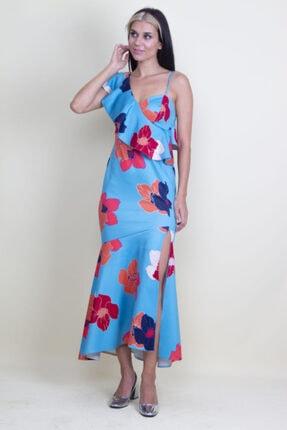 Şans Kadın Mavi Tek Omuz Askılı Yırtmaçlı Çiçek Desenli Elbise 3