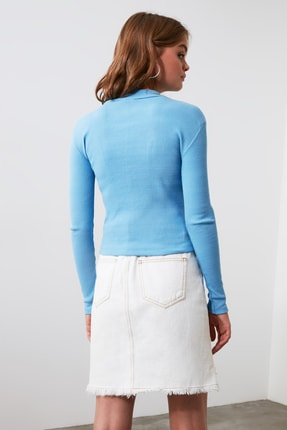 TRENDYOLMİLLA Mavi Fermuar Detaylı Örme Bluz TWOAW20BZ0512 3