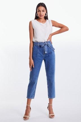 Denim Republic Kadın Mavi Kemerli Yüksek Bel Mom Jeans 1