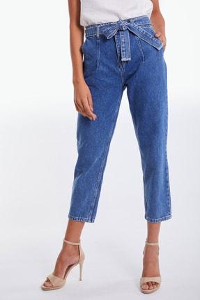Denim Republic Kadın Mavi Kemerli Yüksek Bel Mom Jeans 2