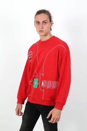 RANESA Unisex Kırmızı Oversize Sweatshirt 1