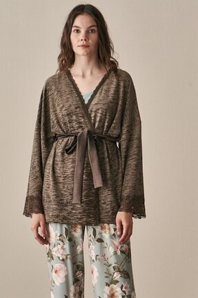 Lohusa Sepeti Kadın Yeşil Uzun Kollu Sabahlıklı Pijama Takımı-3942 2
