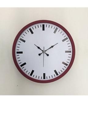 Platin Saat 36 Cm Ahşap Bordo Sayısız Duvar Saati 0