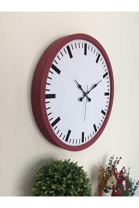 Platin Saat 36 Cm Ahşap Bordo Sayısız Duvar Saati 1