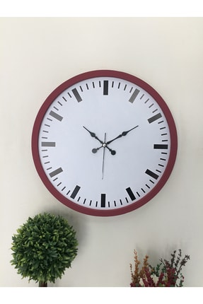 Platin Saat 36 Cm Ahşap Bordo Sayısız Duvar Saati 2