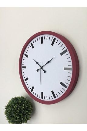 Platin Saat 36 Cm Ahşap Bordo Sayısız Duvar Saati 3